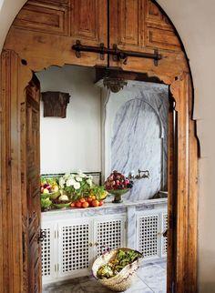 Arches. Shoe designer Bruno Frisoni, of famed fashion house Roger Vivier, and furniture designer Hervé Van der Straeten create an eclectic retreat in the medina of Tangiers, Morocco.