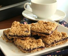 Blueberry Breakfast Bars - Gluten-Free, Sugar-Free (try w/ coconut oil instead of butter for Morgan)