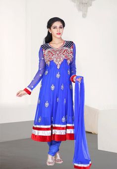 Persian Blue embroidered festival anarkali kameez intricate with zari thread, stone work, sequins work