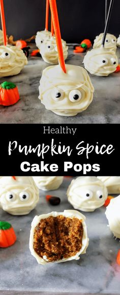 Healthy Pumpkin Spice Cake Pops This healthy homemade spice cake creates the perfect base for healthy pumpkin frosting. Roll into balls and decorate like mummies for a perfect easy Halloween treat. Halloween Desserts, Halloween Cupcakes, Spooky Halloween, Halloween Party, Halloween Tricks, Healthy Halloween, Halloween 2019, Halloween Costumes, Spice Cake Mix