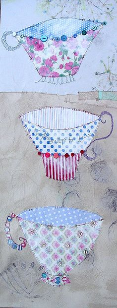 3 cups by Pricilla Jones --- this could be a really beautiful project for linking to 3 cups of tea!
