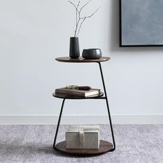 """Make your lounge room work for you with the beautiful Hank modern three level end table! Perfect for storing your favorite books, photos, remotes, and much more! Made from modern wood & glass. Measures approximately 15"""" x 15"""" and 23"""" tall. Free Worldwide Shipping & 100% Money-Back Guarantee Side Table Decor, Table Decor Living Room, Modern Side Table, Bedroom Table, Dining Room, Metal Side Table, Metal Bar, Patio Table, Bedroom Decor"""