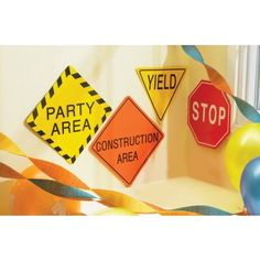 Birthday wall decor for construction themed party