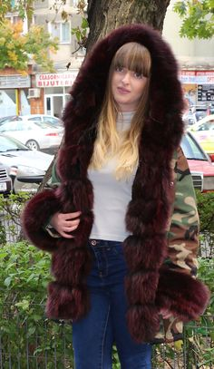 TWO WAY WEARABLE PARKA, DETACHABLE INSIDE FUR VEST, DETACHABLE FUR HAND CUFFS. Gorgeous 100% Cashmere Hooded Cape Ponchos White Fox Fur Trimmed with Button Closure. SIZE : S. FRESH OF THE RUNAWAY FROM THE FALL/WINTER 2017 FASHION COLLECTIONS. | eBay!