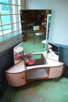 Amazing Retro Vintage Corner Mirrored Dressing Table 1960s