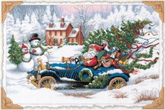 "Gold Collection Roadster Santa Counted Cross Stitch Kit 16""X11"""