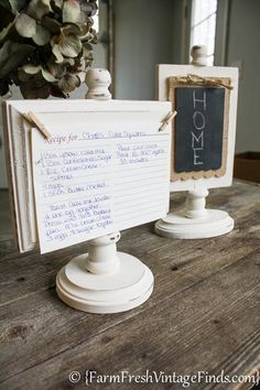 Need a quick inexpensive gift? These recipe card/photo holders are super cute and easy to make.