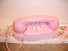 Vintage Pink Plastic Toy Telephone j