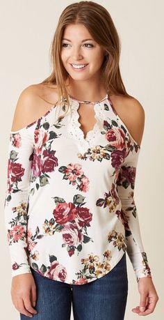 Creamy Floral Cold Shoulder Top w/ scalloped neckline, light tan, broad smile, long straight chestnut locks | Buckle