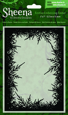 "Sheena Festive 5"" x 7"" Embossing Folder - Frosty Ice Border"