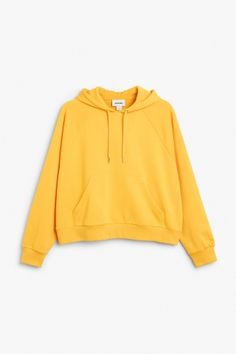 Monki Image 2 of Cropped hoodie in Yellow Reddish