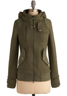 Olive military inspired hoodie with zippers and cuffed wrists