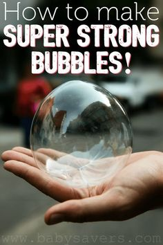 How to make a super strong bubbles recipe with simple ingredients. A great variation on homemade bubbles. I can't wait to make this!
