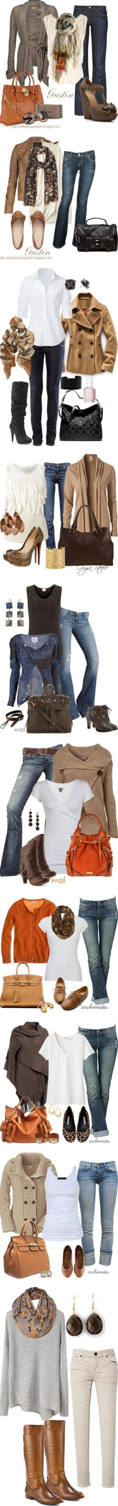 I already own the sweater just need to find this purse, fall clothes always look nice on a woman. I can hide my jiggle arms ha
