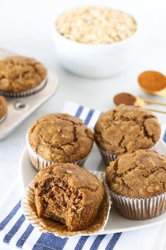 Soooo good Used whole wheat and white flours mixed. Made 13 muffins gluten free vegan oatmeal spice muffins - Sarah Bakes Gluten Free Oat Muffins, Baking Muffins, Gluten Free Muffins, Gluten Free Flour, Vegan Gluten Free, Dairy Free, Gluten Free Recipes For Breakfast, Gluten Free Breakfasts, Paleo Breakfast