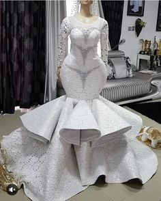 Take a look at the latest bridal train styles in Africa- NIGERIAN 2020 WEDDING STYLES to get inspired and find out how to look gorgeous and chick. Beautiful Bridal Dresses, Black Wedding Dresses, Elegant Wedding Dress, Elegant Dresses, African Print Wedding Dress, African Wedding Attire, African Prom Dresses, Latest African Fashion Dresses, Custom Wedding Dress