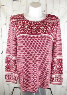 75ce6afda6ad8 J. Jill womens L Sweater Large Red Snowflake Boxy Fair Isle Nordic Cotton   JJill