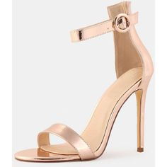 Open Toe Metallic Single Sole Heels ROSE GOLD (44 BAM) ❤ liked on Polyvore featuring shoes, pumps, rose gold metallic shoes, metallic shoes, open-toe pumps, open toe shoes and metallic pumps