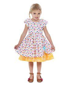 Look at this #zulilyfind! Rainbow & Yellow Spring Bling Katlin Dress - Toddler & Girls #zulilyfinds