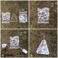 DIY Paper Clip Lace Earrings Diy Lace Earrings, Fabric Earrings, Lace Jewelry, Fabric Jewelry, Jewelry Crafts, Crochet Earrings, Handmade Jewelry, Jewellery Box, Paper Earrings