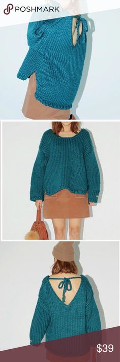 "LAST ONE @Oversized knitted sweaterBoutique Material: acrylic. Measurement: front length: 22.8""-25.2"", bust: 43"", sleeve length: 19"" CATEGORY. NWOT Sweaters"
