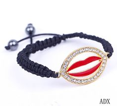 $1.67  Red Lip Black Nylon Crystal Hematite Bracelets Jewelry Gift