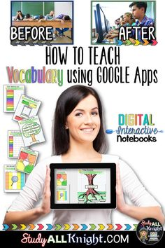 How to Build Vocabulary Lessons Using Digital Interactive Notebooks - Study All Knight Vocabulary Instruction, Teaching Vocabulary, Vocabulary Building, Vocabulary Activities, Vocabulary Notebook, Academic Vocabulary, Google Drive, Teaching Technology, Educational Technology