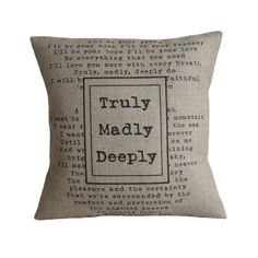 Truly Madly Deeply Pillow Cover por VintageDesignsReborn en Etsy