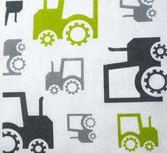 ORGANIC Cotton Fabric-  Childrens fabric  FUN TRACTORS- green/grey (Fat Quarter) Ready to ship via Etsy