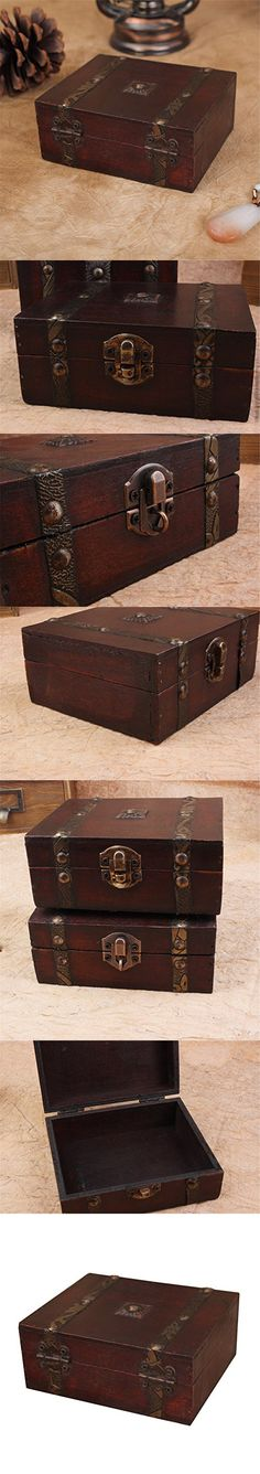 Silence Shopping Treasure Box 50inch Small Trunk Vintage Jewelry Storage Cards Collection Wooden