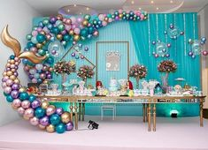 Imaginative Approach on Birthday Party Ideas Balloon Garland, Balloon Decorations, Birthday Decorations, Baby Shower Decorations, Ballon Backdrop, Mermaid Theme Birthday, Little Mermaid Birthday, Deco Ballon, Mermaid Baby Showers