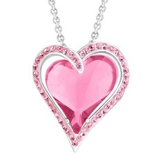 Crystaluxe Double Heart Pendant Necklace with Rose Swarovski Crystals in Sterling Silver, 18' -- Discover this special product, click the image : Fashion Jewelry