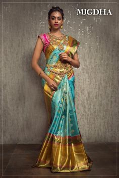 Check out this brand which have the best South Indian bridal wears like half sarees and silk sarees. Bridal Silk Saree, Bridal Lehenga, Saree Wedding, Wedding Mehndi, Chiffon Saree, Wedding Wear, Silk Saree Blouse Designs, Lehenga Designs, Blouse Patterns
