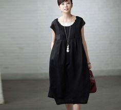 Littéraire petite poitrine frais plissé solide Robe sans manches robe - femmes vêtements Noir