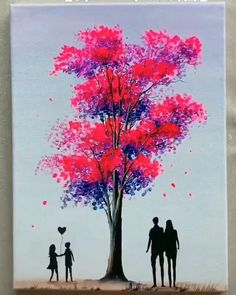 Trees Drawing Tutorial, Acrylic Painting Tutorials, Painting Tips, Acrylic Paintings, Painting Canvas, Tree Paintings, Painting Flowers, Indian Paintings, Canvas Painting Designs