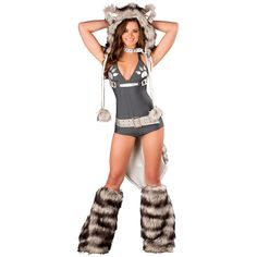 Women's Wolf Romper Sexy Costume ($50) ❤ liked on Polyvore featuring costumes, halloween costumes, multicolor, sexy adult costumes, ladies halloween costumes, werewolf costume, sexy wolf costume and adult halloween costumes