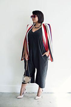 Gabi Fresh in Simply Be Striped Cape Blazer