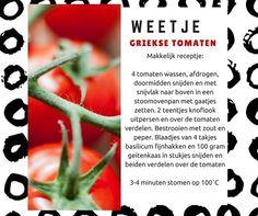Griekse tomaten uit de stoomoven. Recept van FB pagina: Stoomoven Vegetables, Food, Tomatoes, Essen, Vegetable Recipes, Meals, Yemek, Veggies, Eten