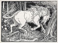 theunicornsorceress:  By John D. Batten, it seems.  Prints available on Etsy. I've heard that a unicorn would chase a lion so quickly that the lion would swerve, leaving the unicorn to crash into the tree. The horn would then penetrate the trunk, trapping the unicorn, where the lion would make its kill.
