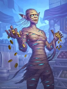 Generous Mummy by Jim NelsonIllustration (and preliminary sketch) for the Hearthstone set Saviors of Uldum. Minion Card, Character Inspiration, Character Design, Evil Demons, Egyptian Mummies, Collectible Cards, World Of Warcraft, Fantasy Creatures, Savior
