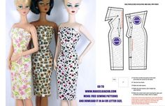 DOLL OUTFITTER - Marcelo Jacob Apparel for Dolls. Very simple strapless sheath pattern for Barbie doll with instructions in English! Sewing Barbie Clothes, Barbie Sewing Patterns, Sewing Dolls, Doll Clothes Patterns, Doll Patterns, Clothing Patterns, Dress Patterns, Dolls Dolls, Girl Dolls