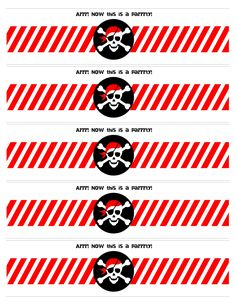 Pirate party water bottle labels