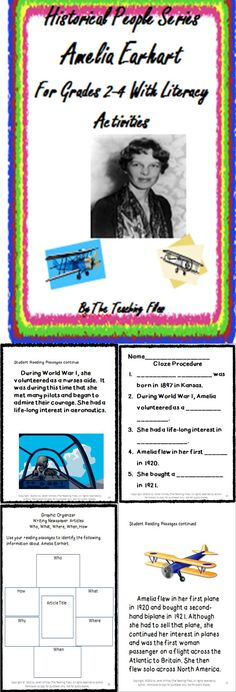 There are lots of fun activities in this packet that students can use as they are learning about Amelia Earhart