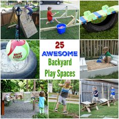 25 Awesome Backyard Play Spaces - Build climbing structures, outdoor toys, and more! - Frugal Fun For Boys and Girls
