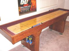 Learn how to build a shuffleboard table on your own! Making a shuffleboard table can get you that much closer to playing shuffleboard at your house. The process of making a shuffleboard table can be Bar Games, Table Games, Game Tables, Shuffleboard Table, Wood Plans, Backyard Games, Table Plans, The Ranch, Diy Table