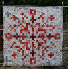 pixel snowflake quilt - front by Lotje Star Quilts, Scrappy Quilts, Mini Quilts, Patchwork Quilting, Nine Patch, Quilting Projects, Quilting Designs, Quilting Ideas, Snowflake Quilt