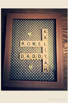 Family Gift, Scrabbles Letters in Frame. Look on my Facebook Page Rell's Craft. Inbox to order