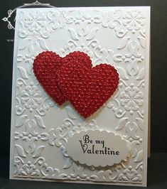 "Elegant Scalloped Heart Of Hearts ""Valentine"" Card...with red glimmer paper.  Rachel: artisticdesignsbyrachel."