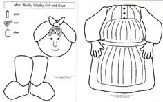 Mrs. Wishy Washy cut and glue practice from makinglearningfun