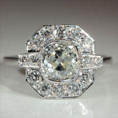 Vintage Art Deco 2.4ctw Diamond Engagement Ring in 18k Gold